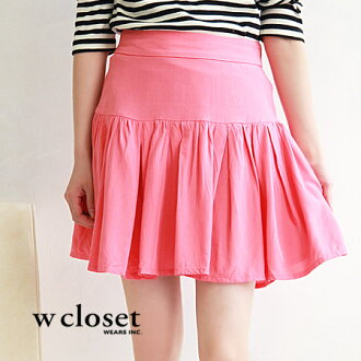 Smooth fabric, shaken in a miniskirt. Seems to be sharp silhouette clean design around the waist girls: ◆ w closet ( ダブルクローゼット ): switching gathered skirt back zip York