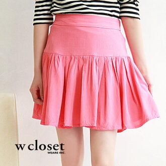 Smooth fabric, shaken in a miniskirt. Seems to be sharp silhouette clean design around the waist girls: ◆ w closet ( ダブルクローゼット ): switching gathered skirt back zip York