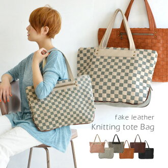 Casual and can use adult styles, grid design Tote BAG. Mati spreading technique and detail! A4 magazine also paid in the commuter school recommended: over the shoulder / bag / bag セミショルダー / gusset / leather ◆ special! メッシュフェイクレザースクエアトート bag