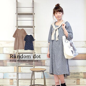 Tickle my natural and cute girl polka a loose piece. A light shirt in sheer rayon if attractive! / women's / 7-length sleeves and knee-length and knee-length / MIDI ◆ ドットプリントレーヨンヘンリーネックワン piece