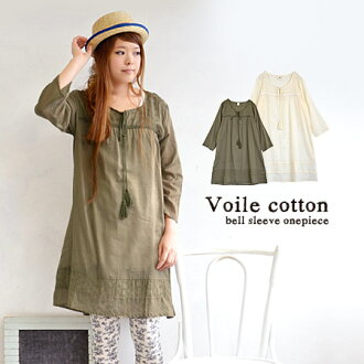 India cotton eyelet embroidery transition season flower motif one piece 100%. With a refreshing India cotton loose A ラインシルエット / 7 / sleeves / 7-sleeve