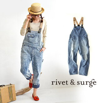 The overall which of course is worn casually without spoiling adultness. Roll-up tapered line / lady's ◆ rivet and surge (rivet and serge) of the girl friend silhouette which is pretty even if I do it: Chemical wash denim salopette pants