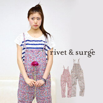 The combinaison which spread small waste flowers of bright coloration all. Shoulder string that thin shirting ♪ without the lining is delicate and ◎ / overall /fs3gm ◆ rivet and surge (rivet and serge) which seem to be the woman of the back design clearl