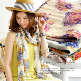 Large floral road was painted in bright colours! Hemp fabric light scarf. Crispness and firmness of linen blend with soft volume. / light / UV protection ◆ シャルマンフラワーリネンレーヨン gauze scarf
