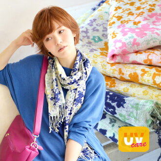 Not too sweet floral touch and colour scheme is nice ♪ refreshing cotton linen material with UV care General fringe scarf. Unique hemp mixed material volume ◎/UV protection to / Tan measures ◆ プラムフラワー UV ケアコットン linen scarf