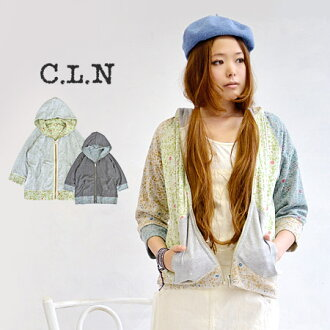 Floral patterns printed on the back hair, plain sweatshirts x enjoy floral pile two-sided reversible design's parka / outerwear / coat / ladies / 7-sleeve and three-quarter sleeves ◆ C.L.N( シーエルエヌ ): フラワーパイルリバーシブルスウェットジップアッ�