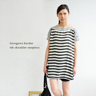 The dress which became so that color lib changed a horizontal stripe Georgette material to the main constituent from a neckline to a sleeve. / short sleeves / mini-dress ◆ rib boat neck Georgette horizontal stripes dolman pull one piece individual the ne