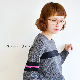 A mannish, nostalgic line design and silhouette. Warm sweater / long sleeves / crew neck / round neck /fs3gm ◆ Audrey and John Wad (オードリーアンドジョンワッド) which used 100% of good-quality wool: Accent line lamb's wool knit pullover