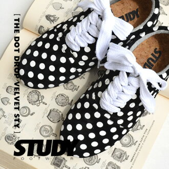 Velvet material on a polka dot print, monotone dot pattern with オックスフォードシューズ/locutsneaker/インヒール /FW1303 / velour / みずたま pattern ◆ STUDY ( study ) THE DOT DROP VELVET