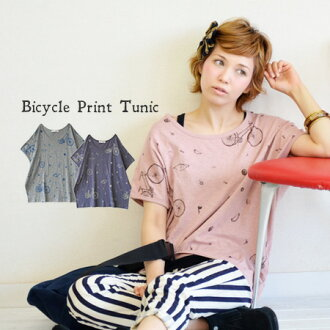 100 dolman sleeve cut-and-sew / Lady's / short sleeves / motorcycle /bike/ cotton %◆ bicycle print dolman T-shirts of the ヴァーフィル T-cloth cloth which an expression with full of a feeling of ♪ slab which is バイスクル Tee which it kept to rare bicycle parts is