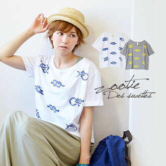 Puffy boobs-marine short sleeve t-shirt with flocking print three-dimensional painted rope design. Enjoy the layered look loose width & great with any items with in short! / shirt / ladies Tee ◆ Zootie ( ズーティー ): マリンロープ print short T shirt