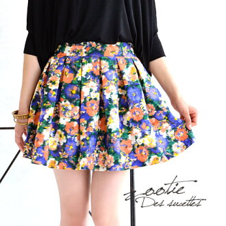 Mini-length skirt / shortstop length / box pleat ◆ Zootie (zoo tea) which I put wide tuck with a lot of ♪ cloth good to the coordinates that the waste flowers which blurred on vivid coloration seemed to be this year, and brought about a feeling of rich f