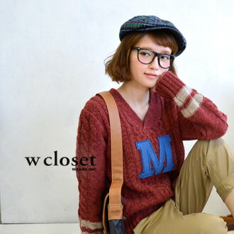 "A color emblem of big ""M"" is pretty! 100% of wool のほっこり X knitwear / long sleeves / lady's / tunic /fs3gm ◆ w closet (double closet) knit well: M emblem Shetland wool V neck knit pullover"