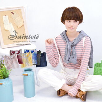 Round neckline long sleeves T-shirt / Ron Tee/ crew neck / Lady's / long shot length ◆ Saintete (sun Tete) which the softness of the cotton was the same and almost finished to cloth without the skewness: No bias line T-cloth ボーダークシュクシュロングカットソー