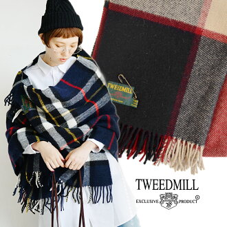 Wool and thick and durable 100% check pattern scarf. In which instead of Outer Insulation shawl is of course to blanket and Interior ◎ / at-home / rug(hizakake) or import ◆ Tweedmill ( ツイードミル ) wool check scarf