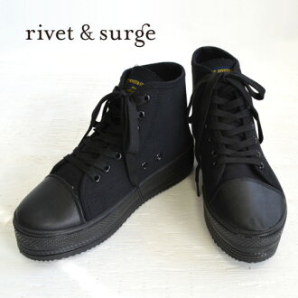 The thick-soled sneakers of the canvas material finished ALL black. For the coordinates that step rather heavy balance is good by higher frequency elimination ♪ / race up / opera pump / Lady's shoes ◆ rivet and surge (rivet and serge): Platform canvas sn