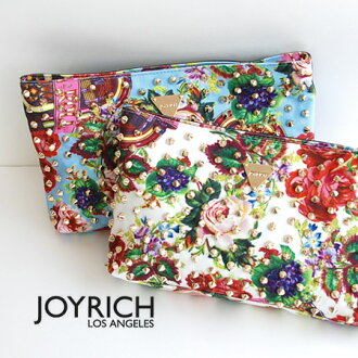 "Studded studded, 1950's flavor filled with floral textile ""ジュークボックスフローラル"" pattern clutch bag / over the shoulder gusset and shoulder and oblique call / bag /BAG/JOY-U13G6BG ◆ JOY RICH ( Mickey Mouse No1 ) :Juke Box Floral Clutch Bag"