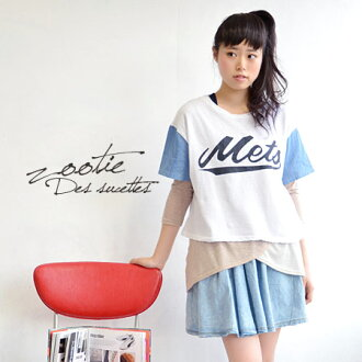 """Front large """"Mets' logo painted, loose Short-Sleeve Tee. Ultra thin mini back hair material x light nonchalant heterogeneous material MIX sewn Dungarees fabrics ◆ Zootie ( ズーティー ) :Mets drop shoulder T shirt"""
