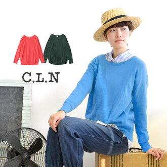 Cosy room where you can enjoy relaxing ライトニット clothing. Differs from cut and sewn Yul & relaxing feeling of the cotton nut / women's / round neck / neck ◆ C.L.N( シーエルエヌ ): ミモエライトニットドロップショルダープル over the round neckline, long sleeve]