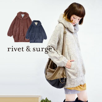Plump aim for small face effect in volume neck tunic-length pants! Best ニットソー material to want Cape of sheer time ◆ rivet and surge ( rivet & surge ): バルーンカラーネップニットソージップアップロングパーカー