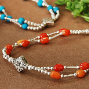 Cute colors tone reminiscent of the fruit crop in Asia! A unique matte silver beads classy texture and natural stone breath! ◆ Silver Bead Bracelet [Asian PCI fruit], s outlet goods.""