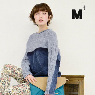To knit, it fuses with a denim-like sweat shirt of a feeling of real discoloration. Different fabrics MIX pullover Lady's long sleeves knitwear denim tops ◆ Mt (M tea) of the well-controlled dolman silhouette: Denim sweat shirt reshuffling dolman knit pu