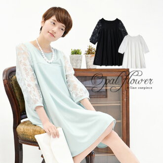 It is ◆ opal organdy flower sleeve one piece for A-line one piece three-quarter sleeves 7 that a sleeve is feminine of transparent waste flowers drawn by opal processing in tops spring in sleeve Lady's mini dress mini length shortstop length spring cloth