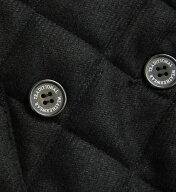 LUTONレオパードライナーダブルボタンキルティングフードジャケット
