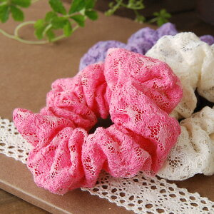 Join the vivid color charm scrunchies! Hairstyles are more brilliantly ♪ cute layered with two! ◆ ラッセルレースシュシュ
