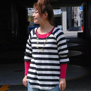 Like the border I of appeared tunic marine tickles the mind taste of Chateau ♪ always creates a notch above the border items round-cut hem and gathered sleeves decorated with seven minutes ◆ ロードボーダー seven minutes sleeves ラフチュニック