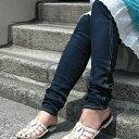 Soup・Zipper5月号掲載!どこから見てもジーンズ同然の本格デニムスパッツ!ロールアップもキレイにキマるパンツ感覚レギンス◆w closet:ストレッチデニムパンツスパッツ