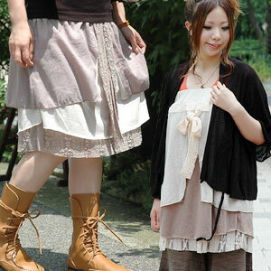 ●●The 2WAY skirt which is cute even if chiffon cloth and the gauze lace which I piled on top of take it is an appearance from original brand zoo tea! Asymmetric design tunic ◆ Zootie which is the girly who becomes raise of wages top and キャミワンピース: Quartet 2WAY race ribbon skirt