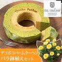 【父の日フラワーギフト】鉢植えセット「マ・クルール 神戸デコボコバームクーヘン?抹茶ミルクの二層仕立