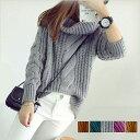 ニットトップス ケーブル編み 長袖 セーター タートル