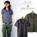 スリック SLICK カモフラ柄ポケットVネック半袖Tシャツ