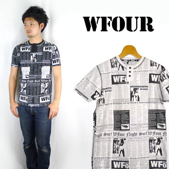 W4 더블 포 헨리 넥 옷 무늬 티셔츠