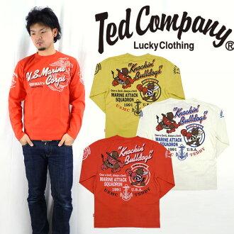 테드만 드 맨 즈 TEDMAN 'S 발 염 프린트 긴 소매 티셔츠 「 U.S.M.C. 」