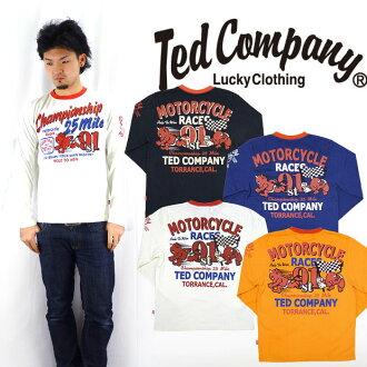 테드만 드 맨 즈 TEDMAN 'S 발 염 프린트 긴 소매 티셔츠 「 MOTORCYCLE RACES 」