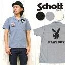 ショット Schott シャツ ワーク 半袖 PLAYBOY プレイボーイ WORK SHIRT 3155007