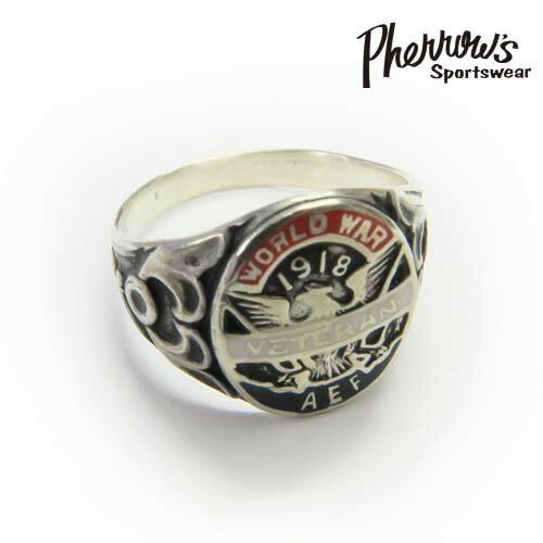 フェローズ Pherrow's リング シルバー925 ''VETERAN RING'' 緻密な彫りが秀逸!フェローズのミリタリーアクセシリーズ