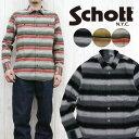 ショット Schott フランネルシャツ ネイティブ ボーダー コンチョ 長袖 シャツ 3165036 【2016年 新作】
