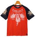 BLOOD MESSAGE ブラッドメッセージ 半袖ラグランスリーブTシャツ「SWALLOW」