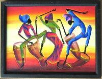 木彫り彫刻画☆アフリカン・アート≪40×30≫04