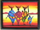 木彫り彫刻画☆アフリカン・アート≪40×30≫07