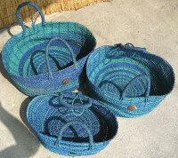 バリ島・パンダン編みのバスケット《ブルー》3サイズセット