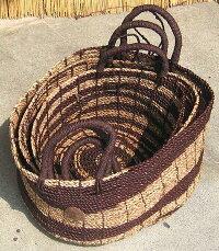 バリ島・パンダン編みのバスケット《ブラウン》3サイズセット