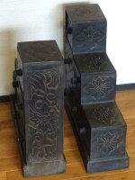 《アジアン家具》木製階段チェスト/アンティーク調〜左右2体セット〜