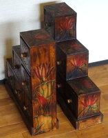 《アジアン家具》木製階段チェスト/ロータス〜左右2体セット〜