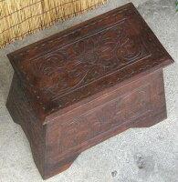 《アジアン家具》木製木箱〜踏み台〜/アンティーク調