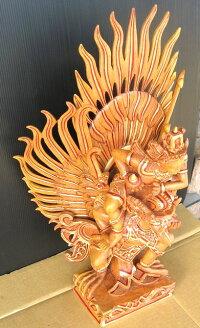 高級木彫りガルーダ&ヴィシュヌ《ジャックフルーツウッド》NKBG2